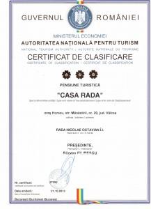 certificat clasificare CASA RADA